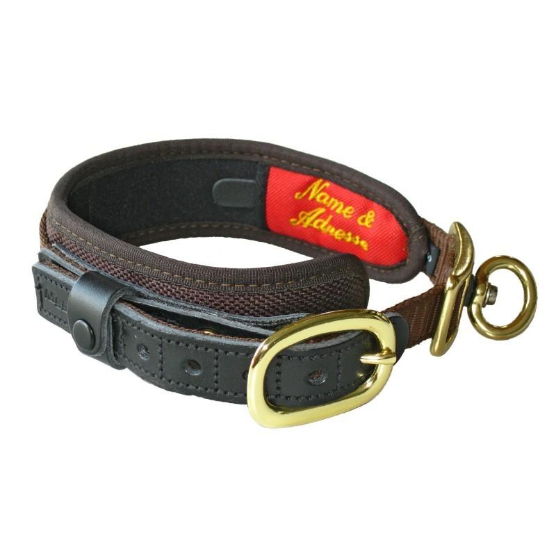 brązowa obroża dla psa niemieckiej firmy Niggeloh z adresem, telefonem, identyfikatorem - DELUXE