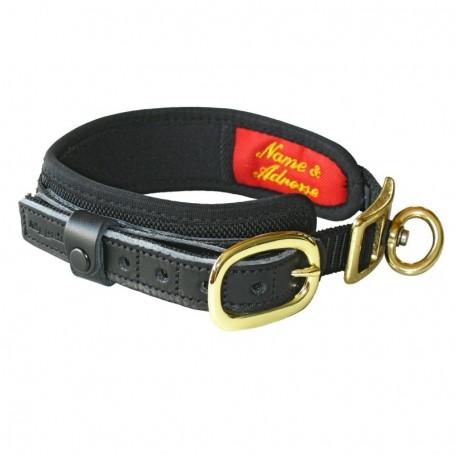 czarna obroża dla psa niemieckiej firmy Niggeloh z adresem, telefonem, identyfikatorem - DELUXE